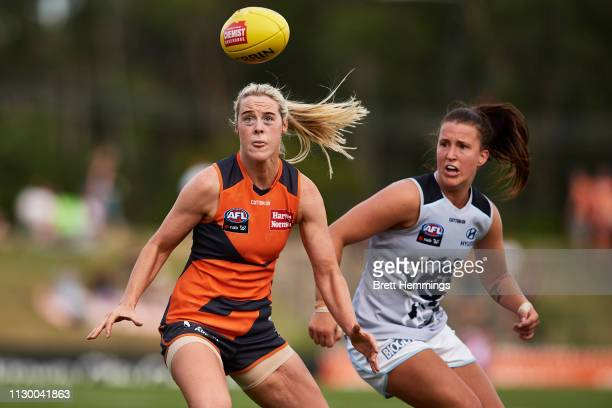 Jayde Van Dyk of Carlton and Yvonne Bonner of the Giants contest the ball during the round three AFLW match between the Greater Western Sydney Giants...
