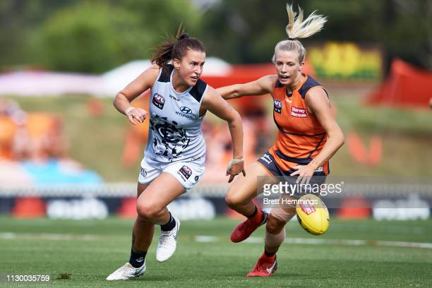 Jayde Van Dyk of Carlton is tackled by Christina Bernardi of the Giants during the round three AFLW match between the Greater Western Sydney Giants...