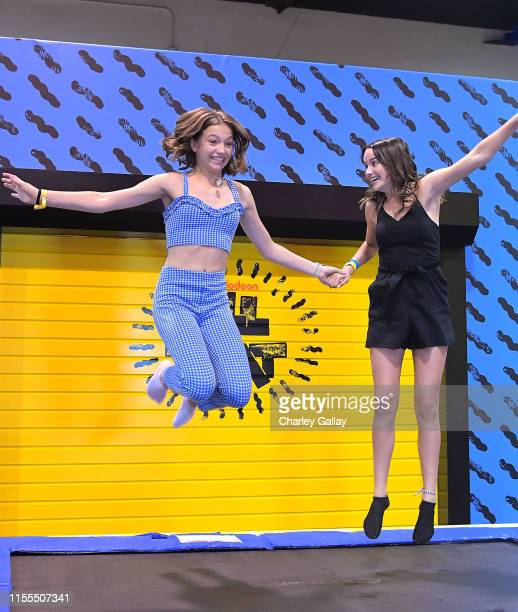 Jayden Bartels and Annie LeBlanc attend Nickelodeon at VidCon US 2019 on July 12 2019 in Los Angeles California
