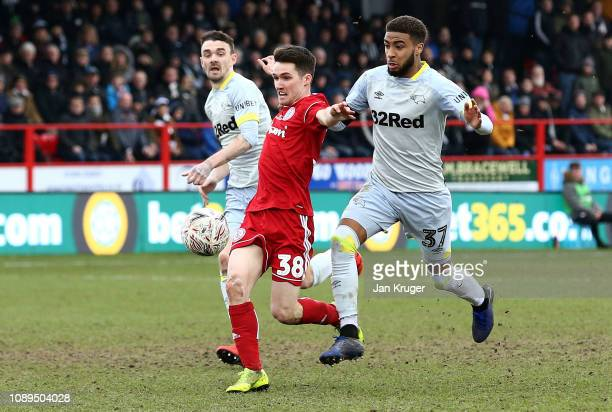 Jayden Bogle of Derby County fouls Paul Smyth of Accrington Stanley, leading to a red card for Jayden Bogle during the FA Cup Fourth Round match...