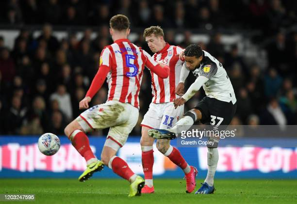 Jayden Bogle of Derby County scores his sides 4th goal during the Sky Bet Championship match between Derby County and Stoke City at Pride Park...