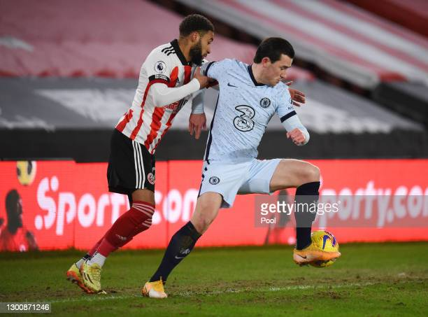 Jayden Bogle of Sheffield United battles for possession with Ben Chilwell of Chelsea during the Premier League match between Sheffield United and...