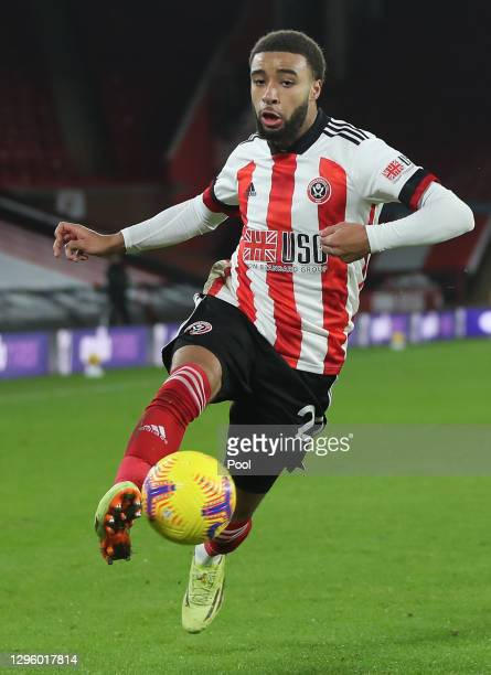 Jayden Bogle of Sheffield United controls the ball during the Premier League match between Sheffield United and Newcastle United at Bramall Lane on...