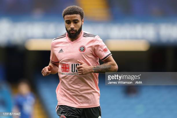 Jayden Bogle of Sheffield United during the Emirates FA Cup Quarter Final match between Chelsea and Sheffield United at Stamford Bridge on March 21,...