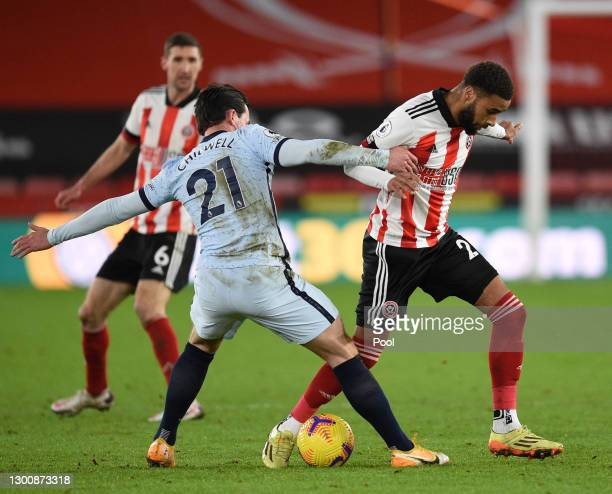 Jayden Bogle of Sheffield United looks to get past Ben Chilwell of Chelsea during the Premier League match between Sheffield United and Chelsea at...