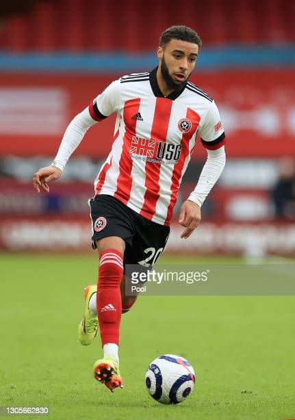 Jayden Bogle of Sheffield United runs with the ball during the Premier League match between Sheffield United and Southampton at Bramall Lane on March...