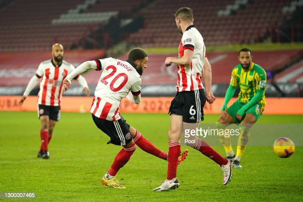 Jayden Bogle of Sheffield United scores their side's first goal during the Premier League match between Sheffield United and West Bromwich Albion at...