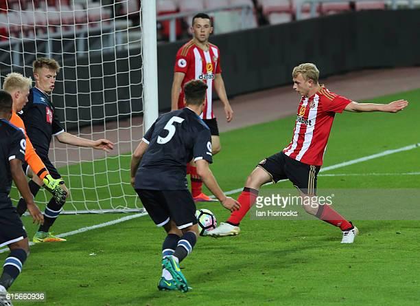 Jayden Bogle of sunderland scores the first sunderland goal during the Premier League 2 match between Sunderland U23 and Derby County U23 at the...
