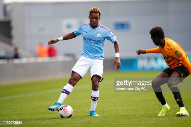 Jayden Braaf of Manchester City at Manchester City Football Academy on September 14 2019 in Manchester England