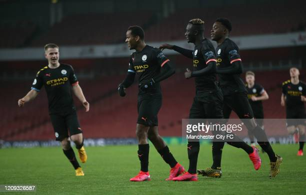 Jayden Braaf of Manchester City celebrates after scoring their third goal during the Premier league 2 match between Arsenal U23 and Manchester City...