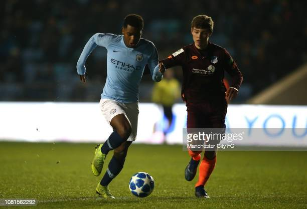 Jayden Braaf of Manchester City controls the ball during the UEFA Youth League Group F match between Manchester City and TSG 1899 Hoffenheim at...