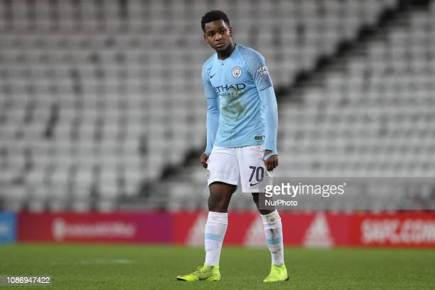 Jayden Braaf of Manchester City during the Checkatrade Trophy Quarter Final match between Sunderland and Manchester City Under 23s at the Stadium Of...