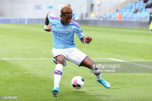Jayden Braaf of Manchester City during the Premier League 2 match between Manchester City and Southampton at The Academy Stadium on August 11 2019 in...