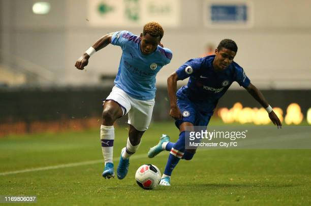 Jayden Braaf of Manchester City holds off Ian Maatsen of Chelsea FC during the Premier League 2 match between Manchester City and Chelsea at...