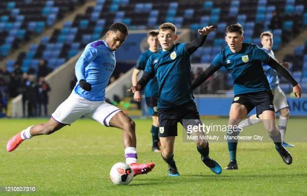 Jayden Braaf of Manchester City in action during the FA Youth Cup Sixth Round match between Manchester City and Burnley at The Academy Stadium on...