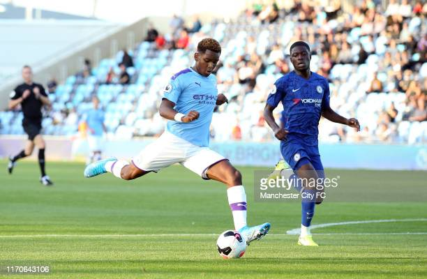 Jayden Braaf of Manchester City in action during the Premier League 2 match between Manchester City and Chelsea at Manchester City Football Academy...