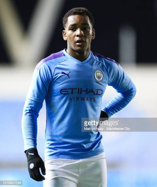 Jayden Braaf of Manchester City looks on during the FA Youth Cup Sixth Round match between Manchester City and Burnley at The Academy Stadium on...
