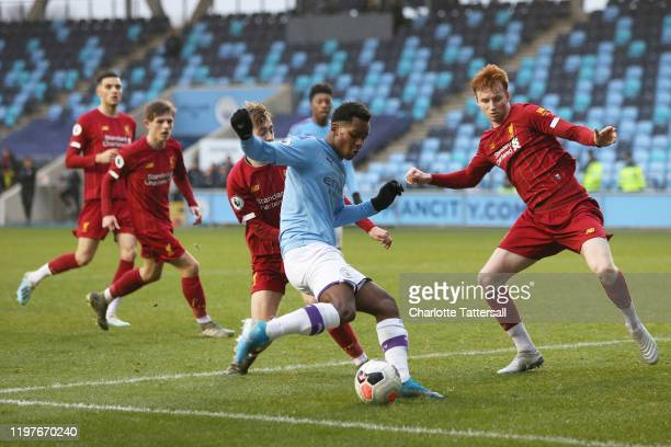 Jayden Braaf of Manchester City shoots during Manchester City v Liverpool FC U23's at The Academy Stadium on January 05, 2020 in Manchester, England.