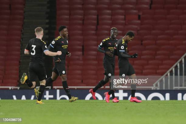 Jayden Braaf of Manchester City u23 celebrates his teams tried goal during the Premier League 2 match between Arsenal Under 23 and Manchester City...