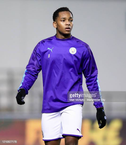 Jayden Braaf of Manchester City warms up during the FA Youth Cup Sixth Round match between Manchester City and Burnley at The Academy Stadium on...