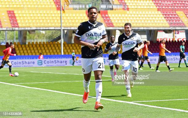 Jayden Braaf of Udinese Calcio celebrates after scoring their side's fourth goal during the Serie A match between Benevento Calcio and Udinese Calcio...
