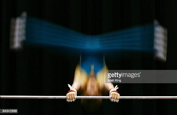 Jayden Bull of Australia competes in the Men's Horizontal Bar Final during day five of the Australian Youth Olympic Festival at Sydney Olympic Park...