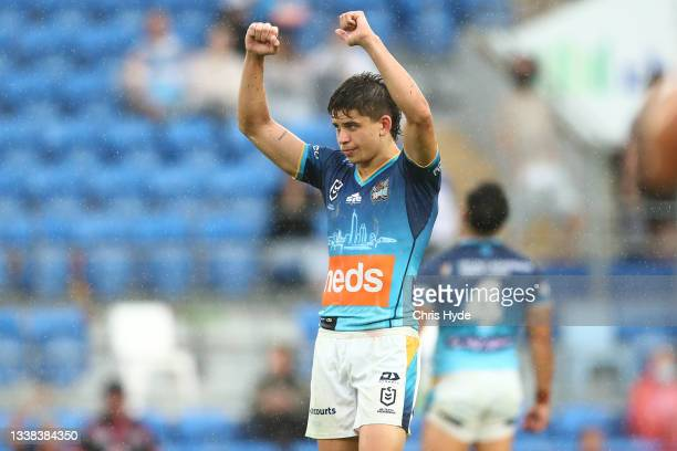 Jayden Campbell of the Titans celebrates winnning the round 25 NRL match between the Gold Coast Titans and the New Zealand Warriors at Cbus Super...