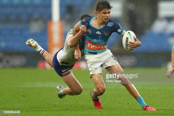 Jayden Campbell of the Titans runs the ball during the round 25 NRL match between the Gold Coast Titans and the New Zealand Warriors at Cbus Super...