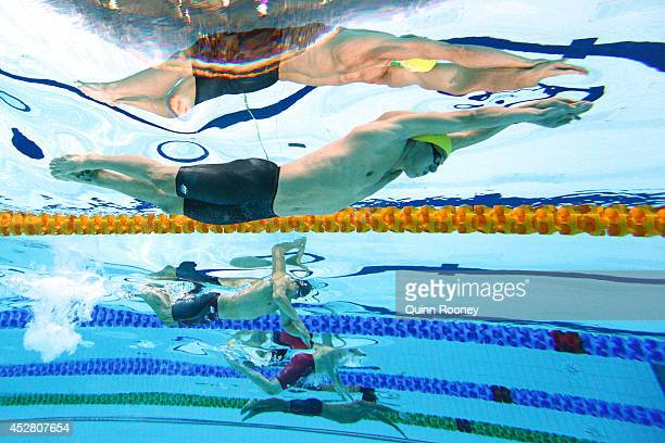 Jayden Hadler of Australia competes in the Men's 100m Butterfly Semi Final 1 at Tollcross International Swimming Centre during day four of the...