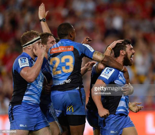 Jayden Hayward of the Force celebrates after scoring the winning the try during the round eight Super Rugby match between the Reds and the Force at...
