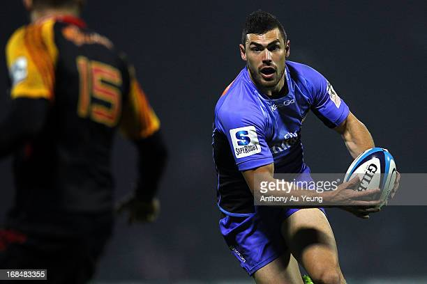 Jayden Hayward of the Force makes a run during the round 13 Super Rugby match between the Chiefs and the Force at ECOLight Stadium on May 10 2013 in...