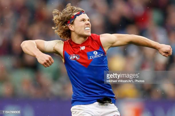 Jayden Hunt of the Demons celebrates after kicking the winning goal during the 2019 AFL round 16 match between the Carlton Blues and the Melbourne...