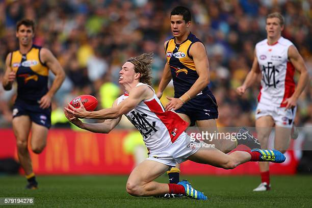 Jayden Hunt of the Demons marks the ball during the round 18 AFL match between the West Coast Eagles and the Melbourne Demons at Domain Stadium on...