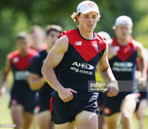 Jayden Hunt of the Demons sprints during a Melbourne Demons AFL training session at Gosch's Paddock on November 13 2017 in Melbourne Australia