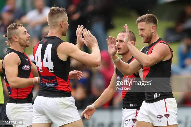 Jayden Laverde of the Bombers celebrates a goal during the 2020 Marsh Community Cup AFL match between the West Coast Eagles and the Essendon Bombers...
