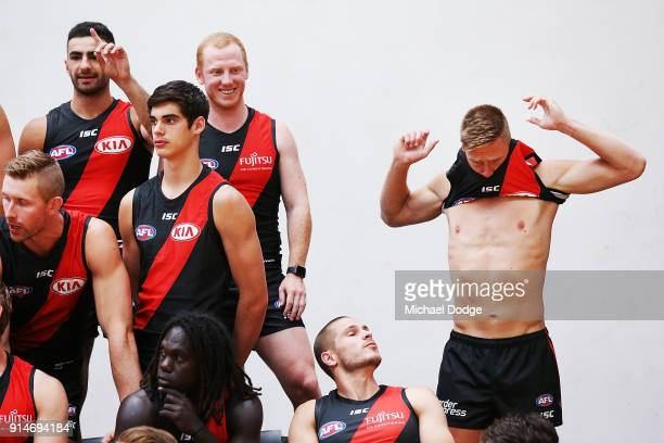 Jayden Laverde of the Bombers gets prepared during an Essendon Bombers team photo session at The Hangar on February 6 2018 in Melbourne Australia
