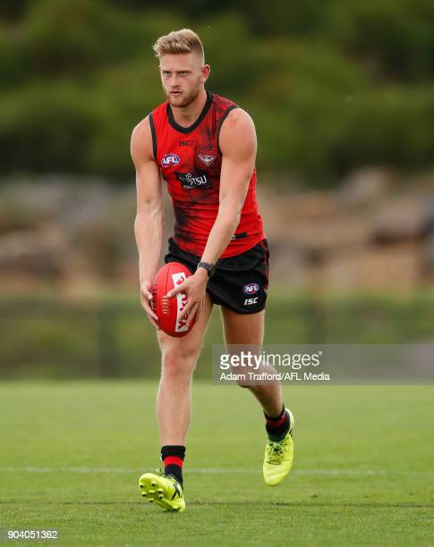 Jayden Laverde of the Bombers lines up for goal during the Essendon Bombers training session at The Hangar on January 12 2018 in Melbourne Australia