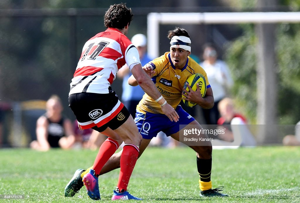 Jayden Ngamanu of Brisbane City looks to take on the defence during the round three NRC match between Brisbane and Canberra at the University of Queensland on September 17, 2017 in Brisbane, Australia.
