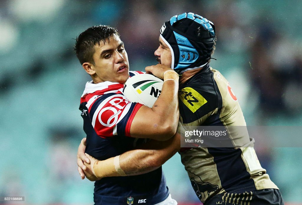 Jayden Nikorima of the Roosters is tackled by Jamie Soward of the Panthers during the round seven NRL match between the Sydney Roosters and the Penrith Panthers at Allianz Stadium on April 18, 2016 in Sydney, Australia.