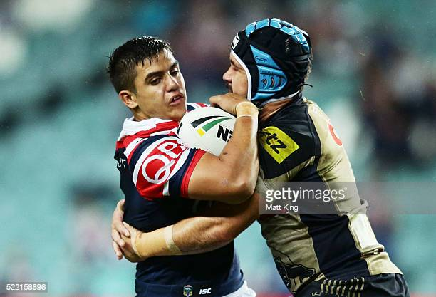 Jayden Nikorima of the Roosters is tackled by Jamie Soward of the Panthers during the round seven NRL match between the Sydney Roosters and the...