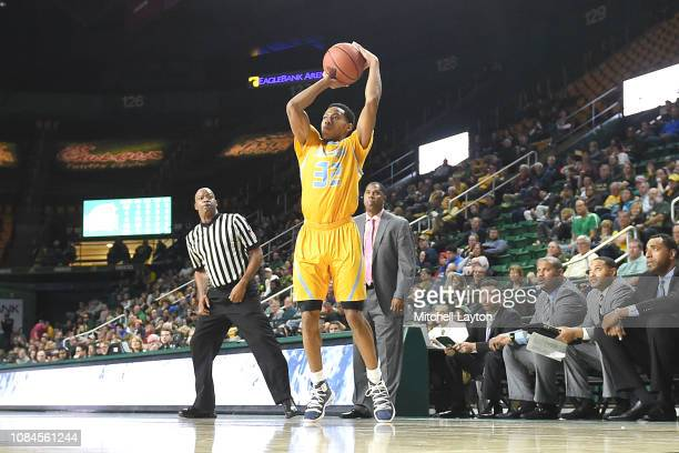 Jayden Saddler of the Southern University Jaguars takes a jump shotduring a college basketball game against the George Mason Patriots at the Eagle...