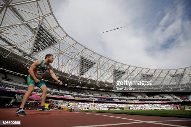 Jayden Sawyer of Australia throws on his way to winning gold in the men's javelin F38 final during the World Para Athletics Championships 2017 at the...