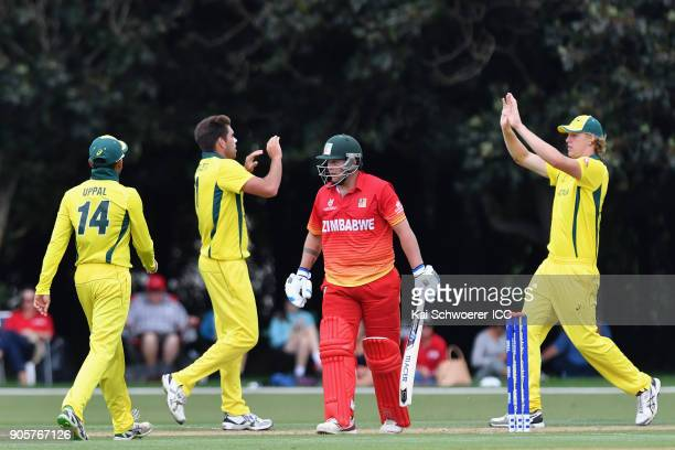 Jayden Schadendorf of Zimbabwe looks dejected after being dismissed by Xavier Bartlett of Australia during the ICC U19 Cricket World Cup match...