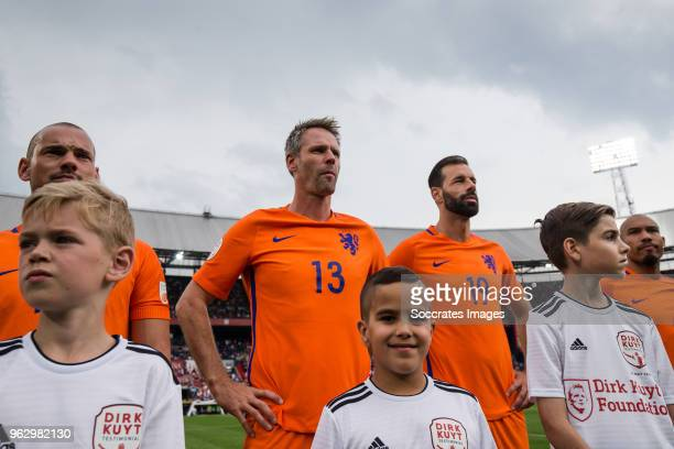 Jayden Sneijder Wesley Sneijder Andre Ooijer Ruud van Nistelrooy Liam van Nistelrooy during the Dirk Kuyt Testimonial at the Feyenoord Stadium on May...