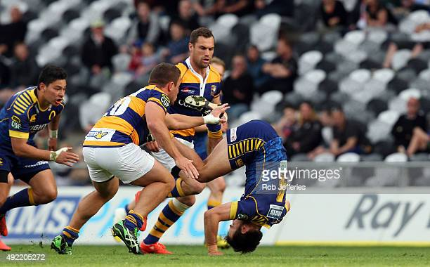 Jayden Spence of Otago completes a forward roll during the round nine ITM Cup match between Otago and Bay of Plenty at Forsyth Barr Stadium on...
