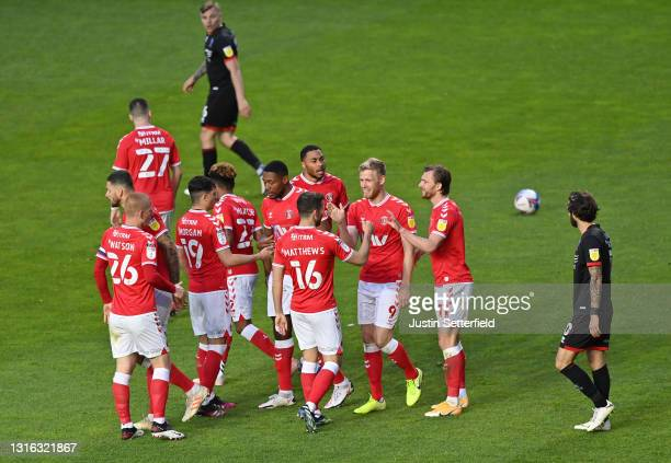 Jayden Stockley of Charlton Athletic celebrates with his team mates after scoring his team's first goal during the Sky Bet League One match between...