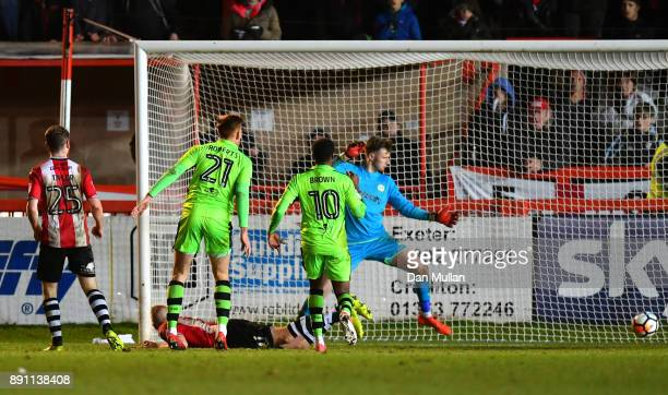 Jayden Stockley of Exeter City scores his sides second goal during the Emirates FA Cup Second Round Replay between Exeter City and Forest Green at St...