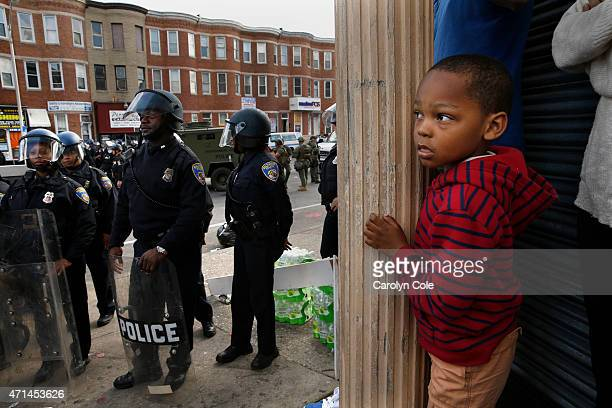 Jayden Thorpe age 5 came with his mother to shee what was happening at the intersection of W North Ave and Pennsylvania Ave where the CVS looting...