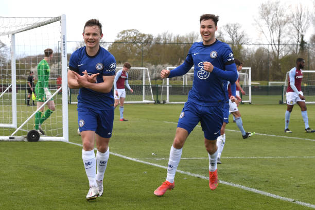 Jayden Wareham of Chelsea celebrates scoring with Harvey Vale of Chelsea during the Aston Villa v Chelsea U18 Premier League at Bodymoor Heath...