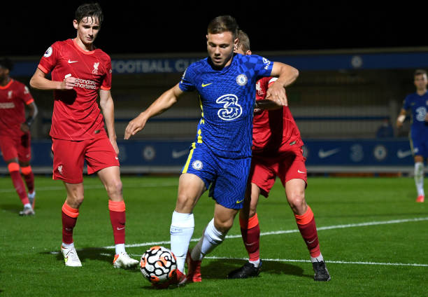 Jayden Wareham of Chelsea runs with the ball during the Premier League 2 match between Chelsea and Liverpool on September 24, 2021 in Kingston upon...